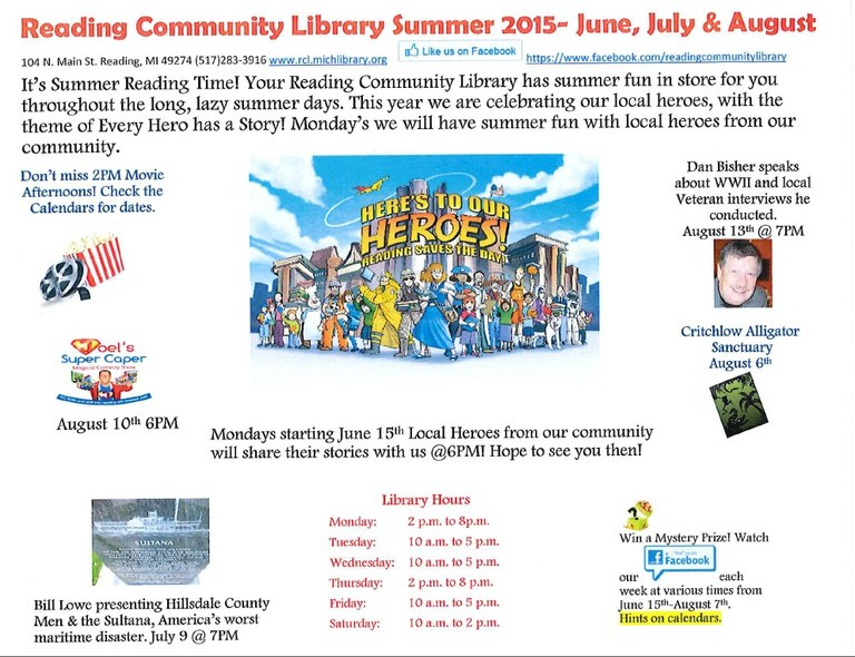 2015 RCL Summer Events